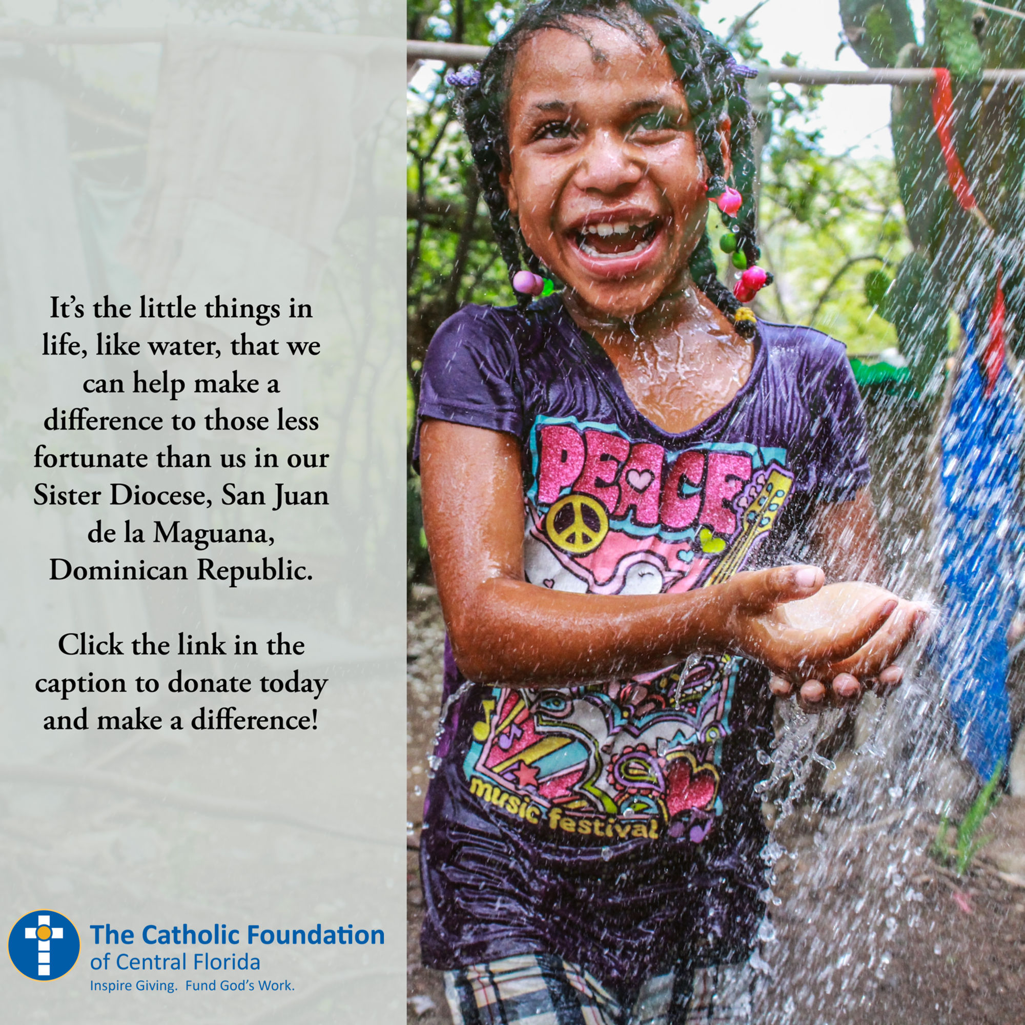 Oct 2019 Special Collection Sister Diocese Water Smiling Gir